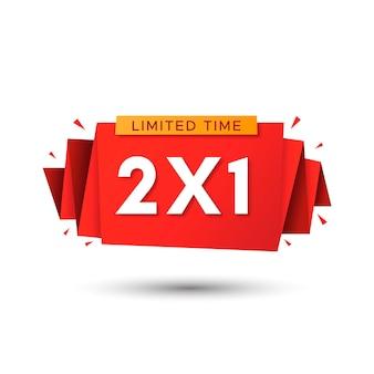 Promoción especial compre uno y obtenga dos etiqueta roja