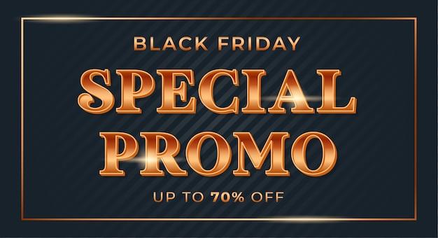 Promoción especial con fuente de degradado dorado brillante para banner de venta de viernes negro