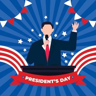 Promoción del evento del día del presidente de diseño plano con un hombre que tiene un discurso ilustrado