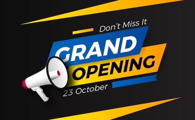 Promoción de eventos de inauguración con megáfono. cartel banner plantilla
