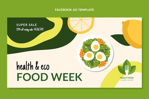 Promoción de facebook de comida plana
