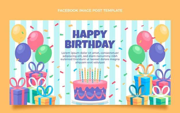 Promoción de facebook de cumpleaños minimalista plana