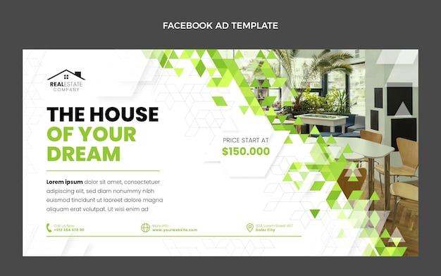 Promoción de facebook de inmobiliaria geométrica abstracta de diseño plano