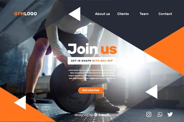 Promoción de gimnasio en la página de aterrizaje con foto