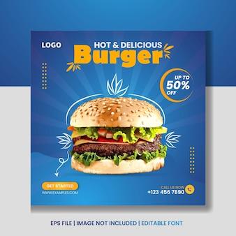 Promoción de hamburguesas en las redes sociales y plantilla de banner de publicación de instagram