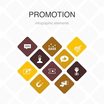 Promoción infografía 10 opciones de diseño de color. publicidad, ventas, conversión de clientes potenciales, atraer iconos simples.