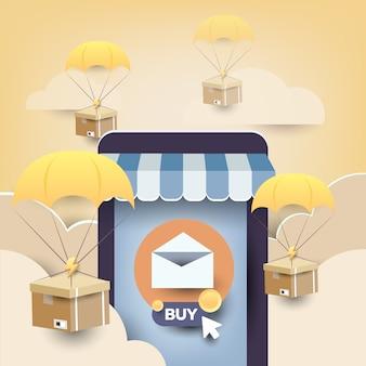 Promoción de marketing por correo electrónico de tienda móvil