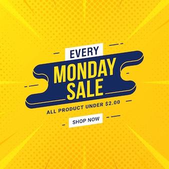 Promoción de marketing de descuento de banner de venta de lunes