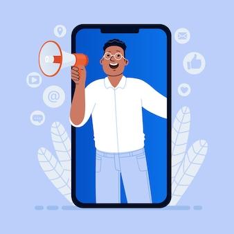 Promoción de marketing móvil de productos o servicios en las redes sociales megáfono de chico afroamericano