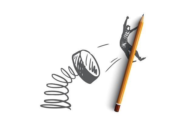 Promoción, marketing, publicidad, anuncio, concepto de oferta. efecto de promoción dibujado a mano con boceto de concepto de hombre volador.