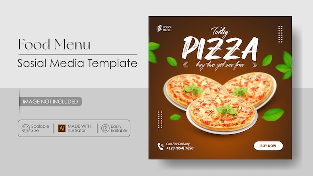 Promoción de medios de comunicación de comida de pizza y plantilla de diseño de instagram