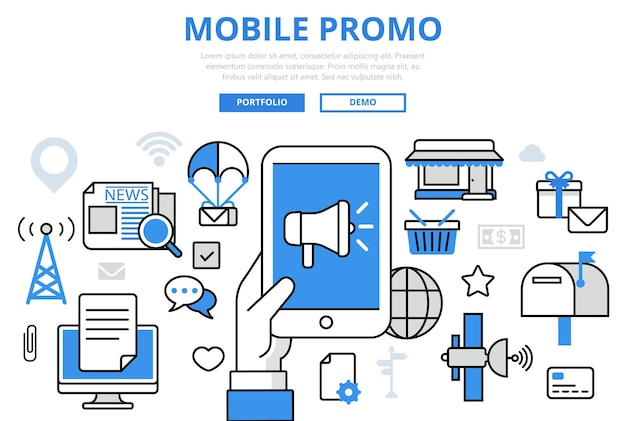 Promoción móvil marketing digital promoción concepto iconos de arte de línea plana.