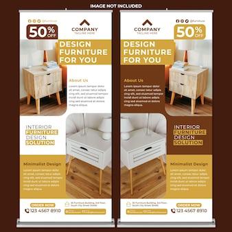 Promoción de muebles roll up banner print template en flat design style