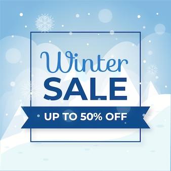 Promoción de oferta especial de rebajas de invierno