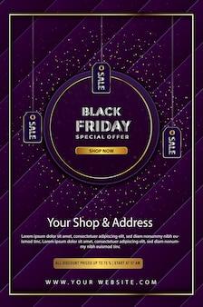 Promoción de oferta especial de viernes negro hasta cartel.