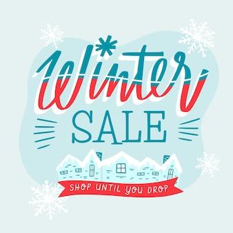 Promoción de oferta de venta de invierno dibujada a mano
