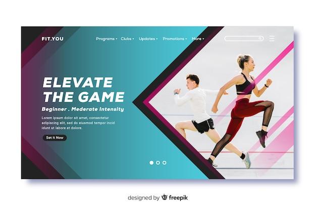 Promoción de página de aterrizaje en gimnasio con imagen