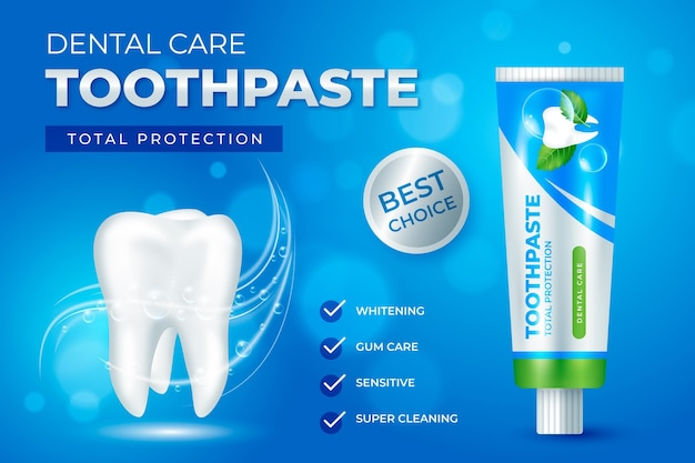 Promoción de pasta de dientes para el cuidado dental