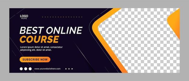 Promoción de plantilla de banner de portada de redes sociales del curso en línea