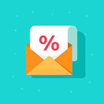 Promoción de publicidad por correo electrónico en un sobre con un porcentaje de dibujos animados plana de iconos de vectores de descuento