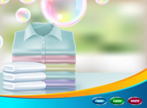 Promoción realista de detergente en polvo