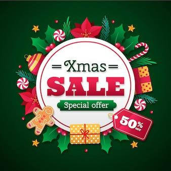 Promoción de rebajas navideñas de diseño plano