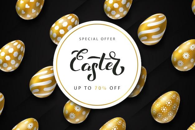 Promoción de rebajas de pascua con diseño de huevos.