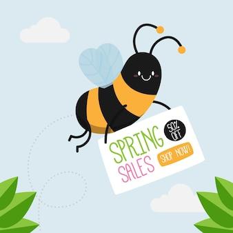 Promoción de rebajas de primavera dibujada a mano con abeja