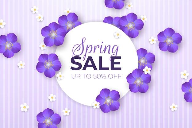 Promoción de rebajas de primavera realista