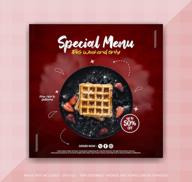 Promoción de redes sociales de alimentos y plantilla de diseño de publicación de banner