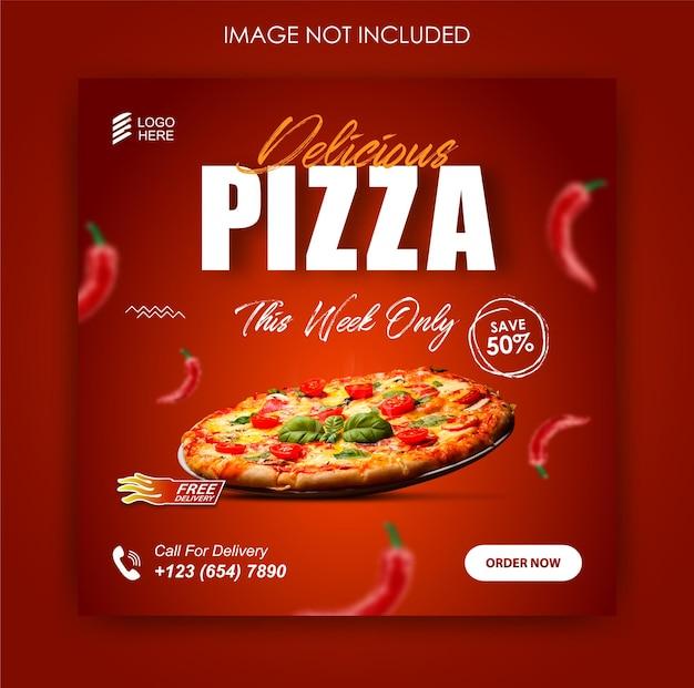 Promoción de redes sociales de comida de pizza y plantilla de publicación de banner