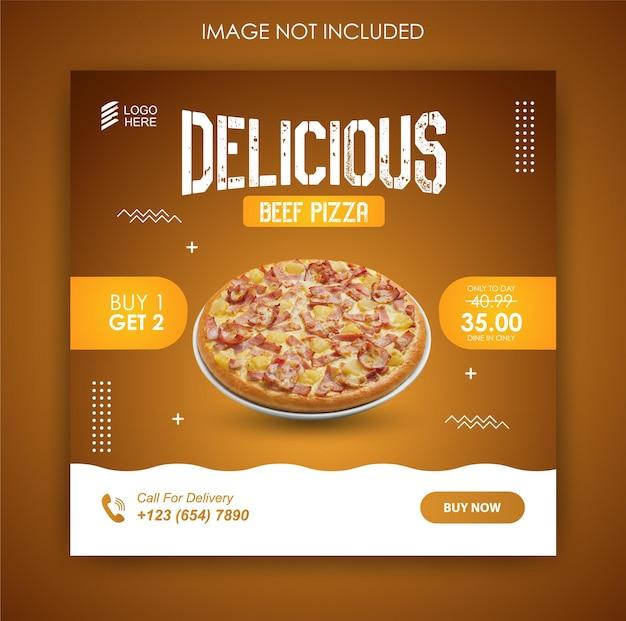 Promoción de redes sociales pizza comida y plantilla de diseño de publicación de instagram