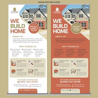 Promoción de reparación de viviendas roll up banner print template en flat design style