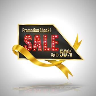 Promoción shock venta banner estilo 3d