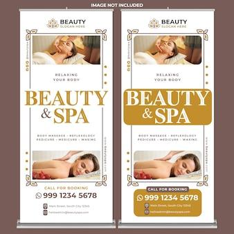 Promoción de spa de belleza enrollar la plantilla de impresión de banner en estilo de diseño plano