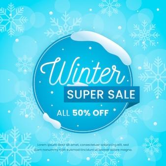 Promoción de super venta de invierno en círculo con copos de nieve