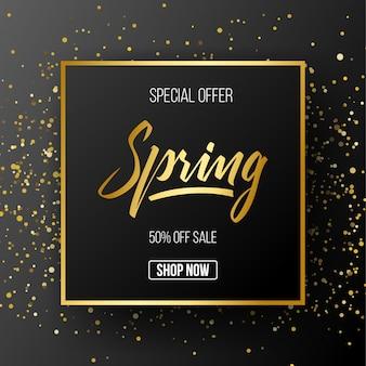 Promoción de la temporada de primavera banner oro