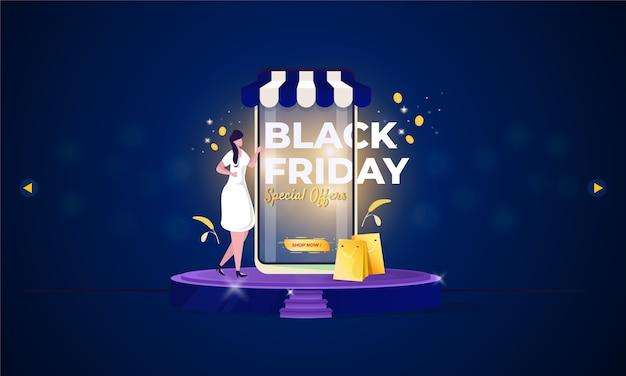 Promoción de tienda online con concepto de venta de viernes negro