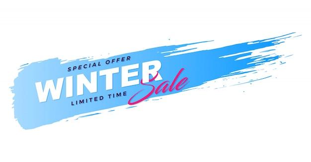 Promoción de venta de banner de pincel de invierno.
