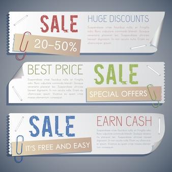 Promoción venta banners horizontales con ofertas de marketing y publicidad en estilo vintage.