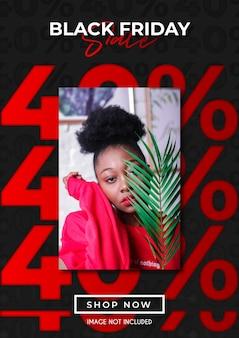 Promoción de venta de black friday de hasta un 40% con plantilla de diseño estético