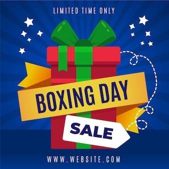 Promoción de venta de boxing day en diseño plano.