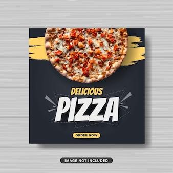 Promoción de venta de comida de pizza deliciosa banner de plantilla de publicación de redes sociales