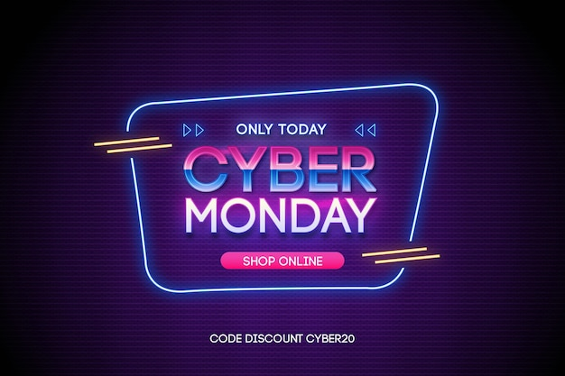 Promoción de venta de cyber monday en estilo retro futurista