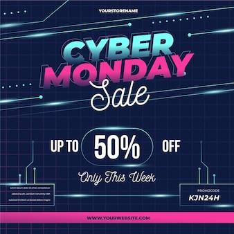 Promoción de venta de cyber monday tecnológico realista
