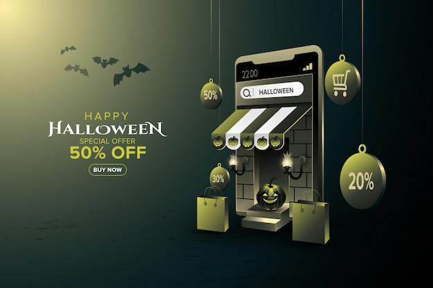 Promoción de venta de feliz halloween en aplicación móvil o sitio web