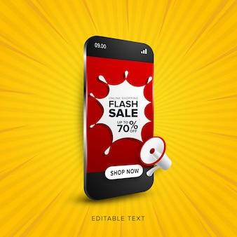 Promoción de venta flash de compras en línea.