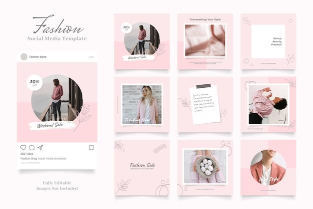 Promoción de venta de moda de banner de plantilla de redes sociales.