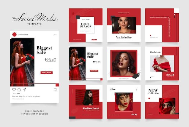 Promoción de venta de moda de blog de banner de plantilla de redes sociales.