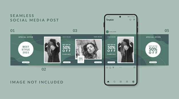 Promoción de venta de moda de plantilla de publicación de redes sociales de carrusel